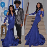 Ballbella offers Royal Blue Mermaid Prom Party Gowns Sequined V-Neck Party Wear at a good price from different colors, Stretch Satin to Mermaid Floor-length hem. Gorgeous yet affordable Prom Dresses, Evening Dresses.