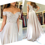 Customizing this New Arrival Off-the-Shoulder Lace Prom Dresses On Sale Sheer Tulle Chiffon Long Formal Evening Gowns with Buttons on Ballbella. We offer extra coupons,  make Prom Dresses, Evening Dresses in cheap and affordable price. We provide worldwide shipping and will make the dress perfect for everyone.