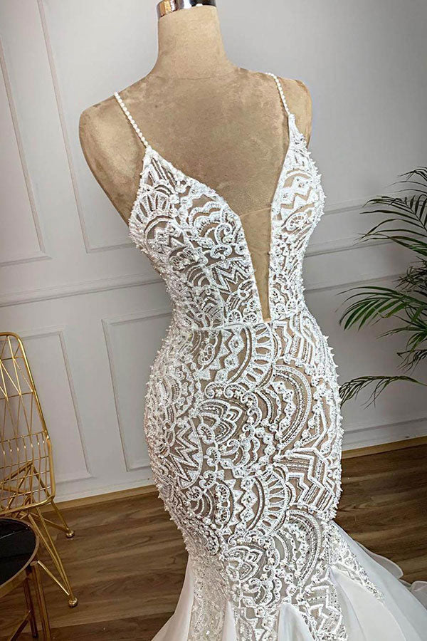 Ballbella.com supplies you Luxurious Spaghetti Strap Mermaid Hollow Wedding Dress online at an affordable price. Shop for Amazing Sleeveless collections for special events.