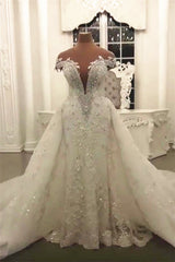Gorgeous Crystal Lace Off-the-Shoulder V-neck Beading Wedding Dresses with Detachable Overskirt