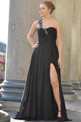 A-line One-shoulder Floor Length Chiffon Front Slit Rhinestone Prom Dress