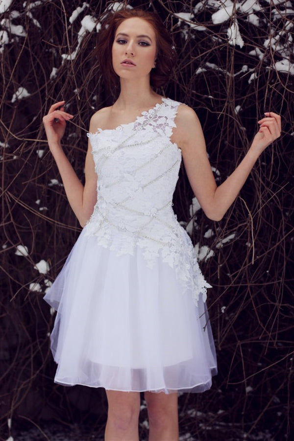 A-line One-shoulder Knee Length Tulle Lace Applique Prom Dress