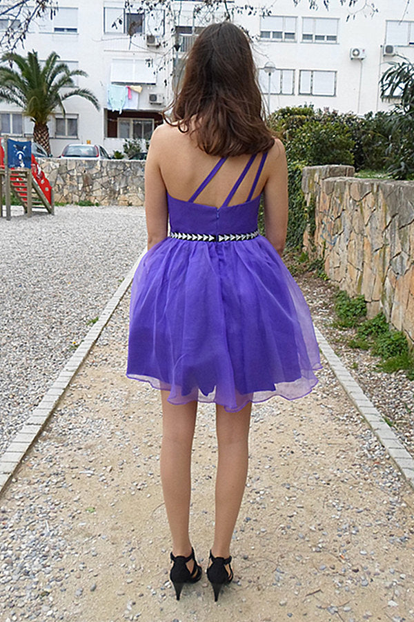 A-line One-shoulder Knee Length Tulle Rhinestone Backless Prom Dress