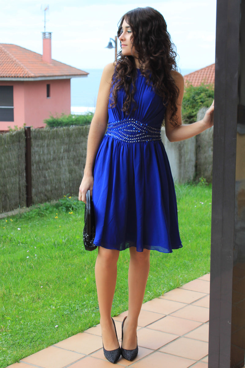A-line Small Round Collar Knee Length Chiffon Beaded Prom Dress
