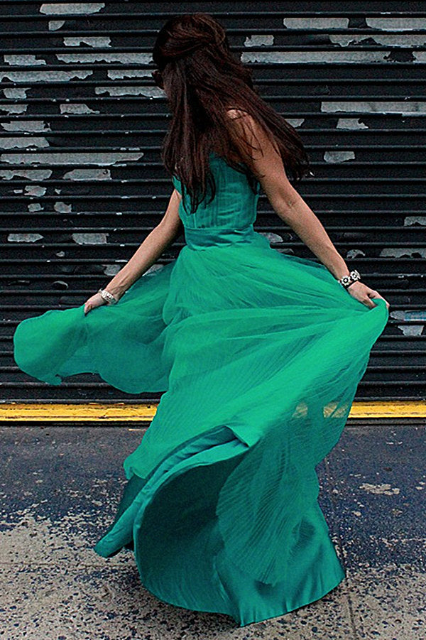 A-line Spaghetti Strap Floor Length Chapel Tulle Rhinestone Prom Dress