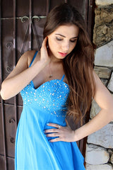 A-line Spaghetti Strap Knee Length Chiffon Rhinestone Prom Dress