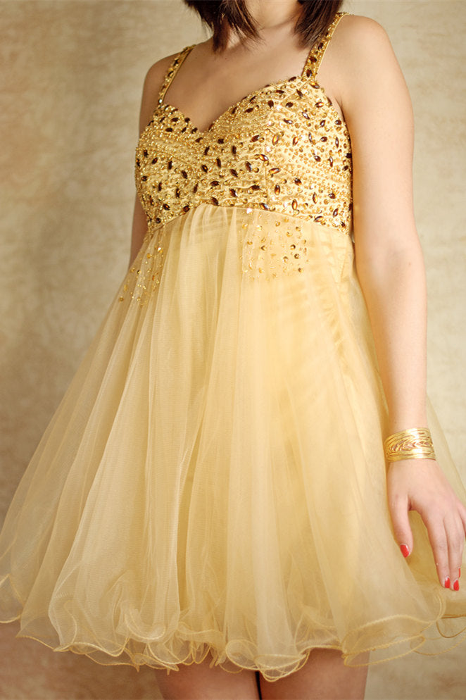 A-line Spaghetti Strap Knee Length Tulle Rhinestone Prom Dress