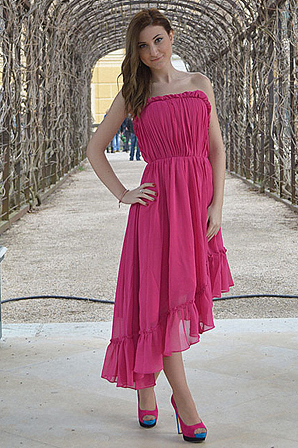 A-line Strapless High-low Length Chiffon Backless Prom Dress