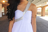 A-line Sweetheart Diagonal Strap Floor Length Chiffon Paillette Prom Dress