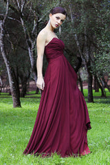 A-line Sweetheart Floor Length Tulle Chiffon Prom Dress