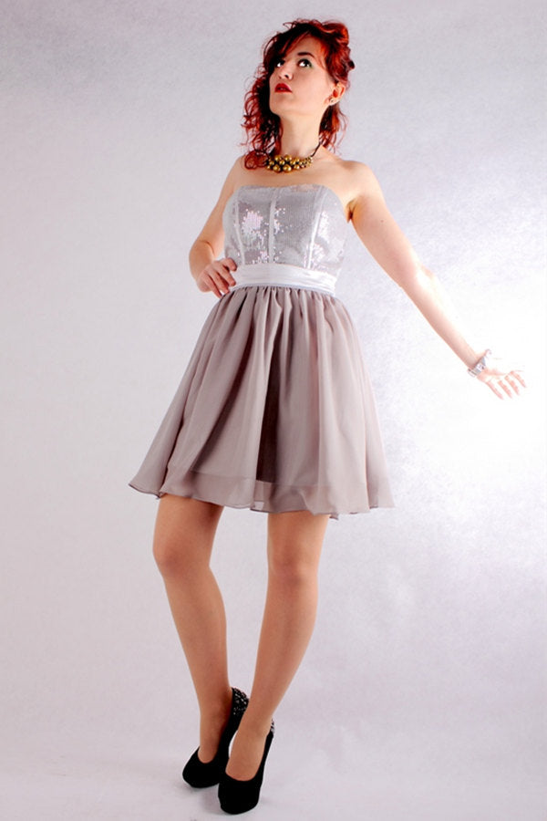 A-line Sweetheart Knee Length Tulle Paillette Sleeveless Prom Dress