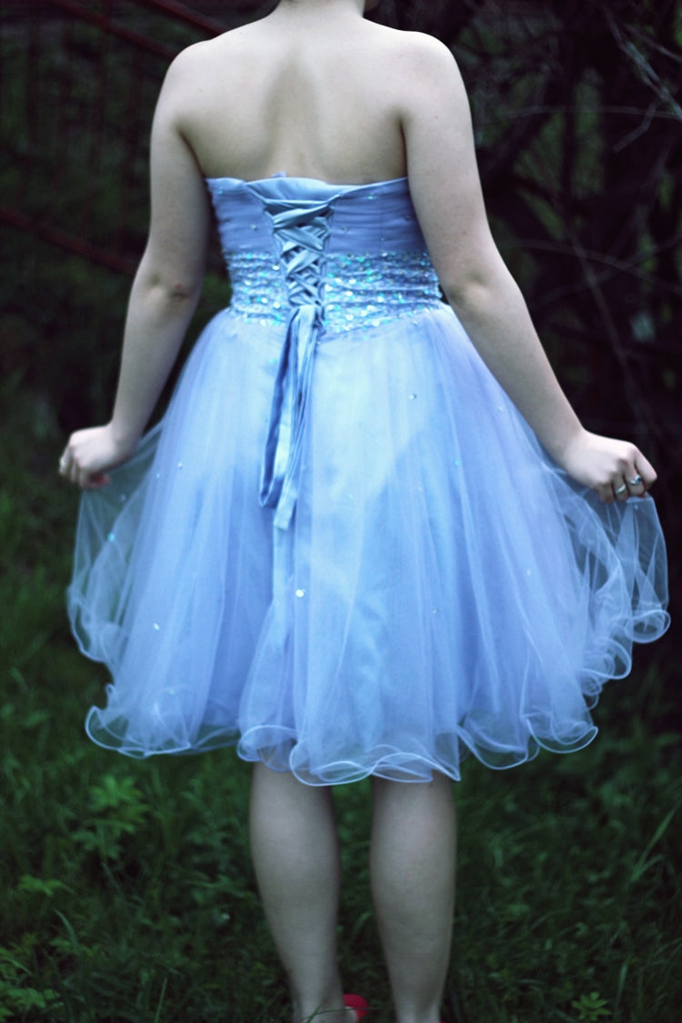 A-line Sweetheart Knee Length Tulle Rhinestone Prom Dress