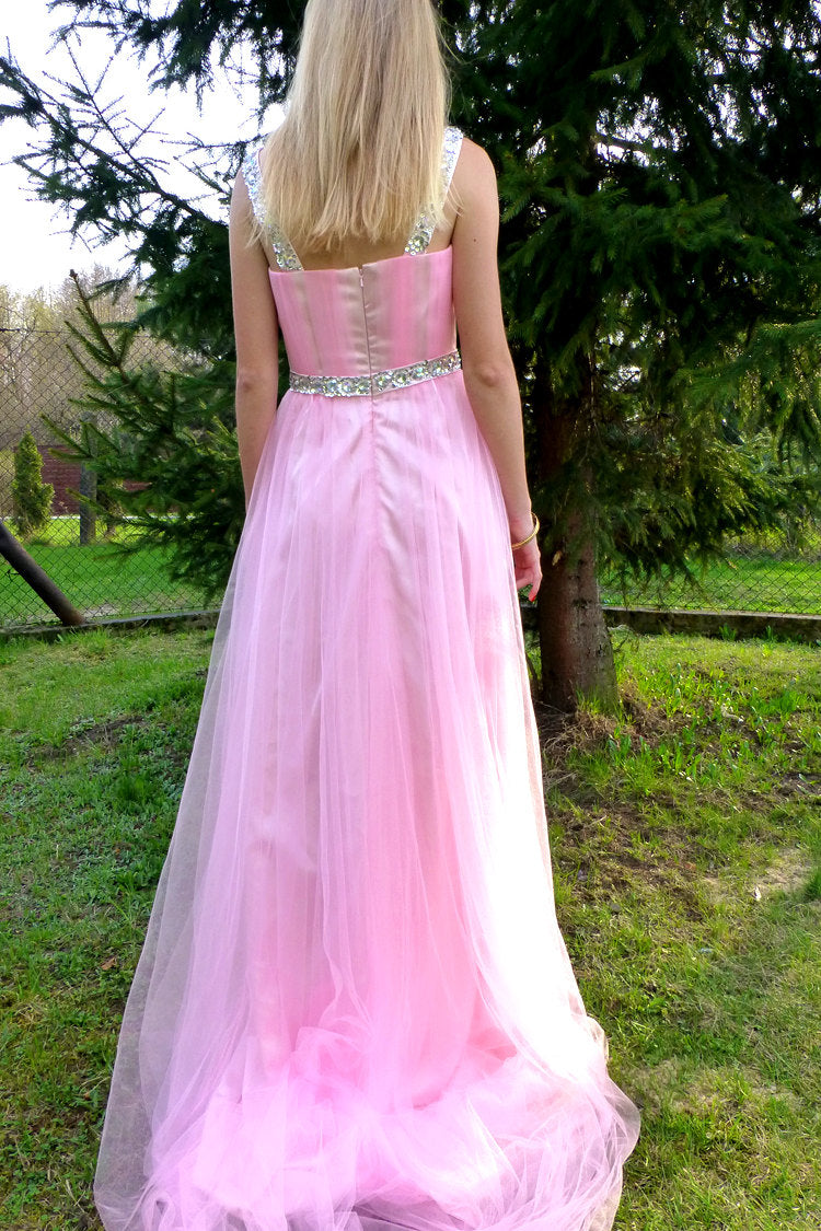 A-line Wide Strap Floor Length Chrmuse Tulle Rhinestone Prom Dress