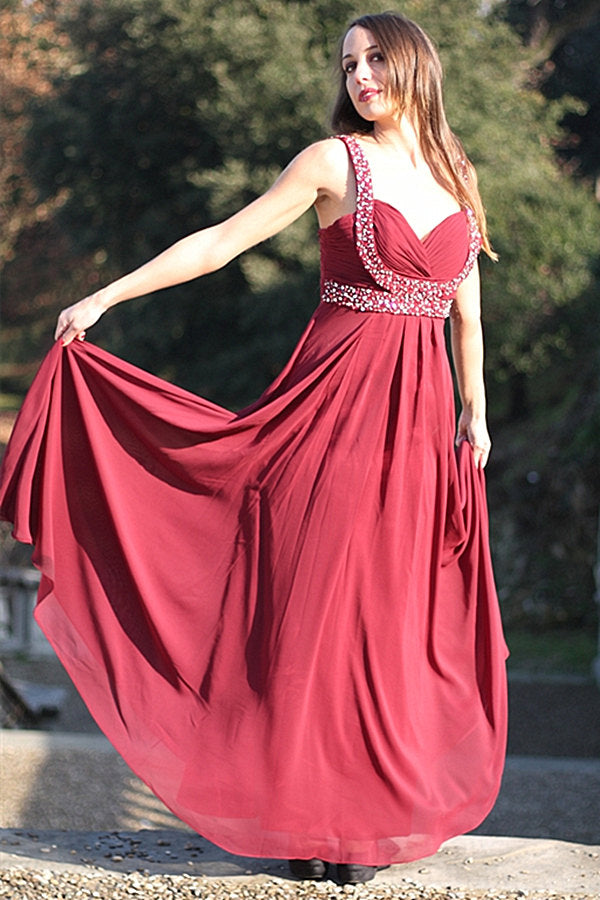 A-line Wide Strap V-neck Floor Length Chiffon Rhinestone Prom Dress