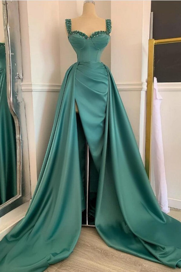 Elegant Green Sweetheart Straps Long Evening Dress With Beadings