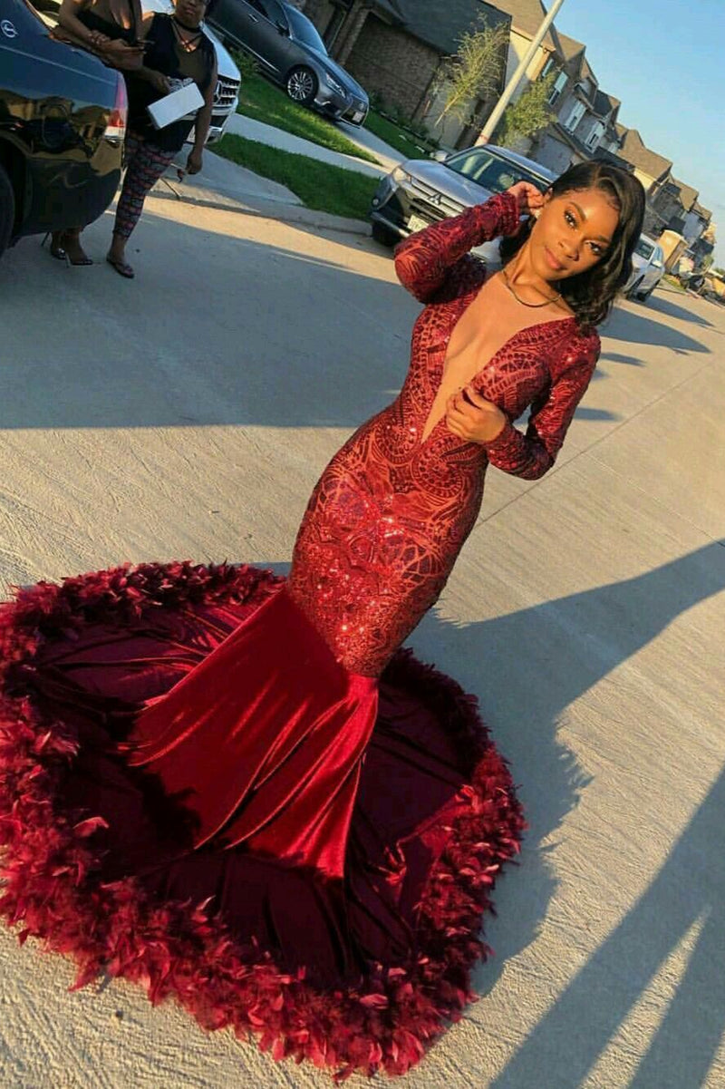 Burgundy Deep V-Neck Long Sleeve Mermaid Prom Dress With Sequins