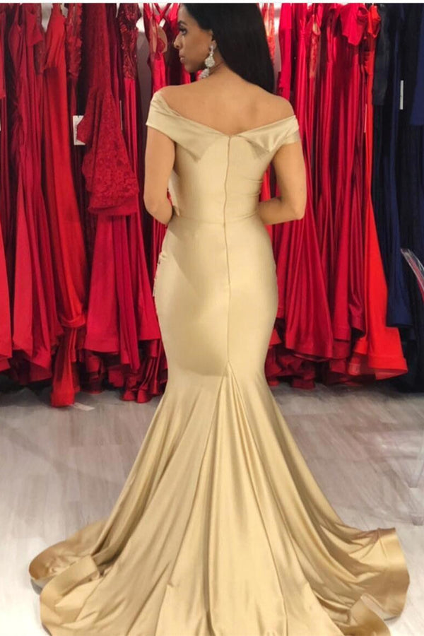 Elegant Chiffon Off-the-shoulder Gold Mermaid Evening Dress Long