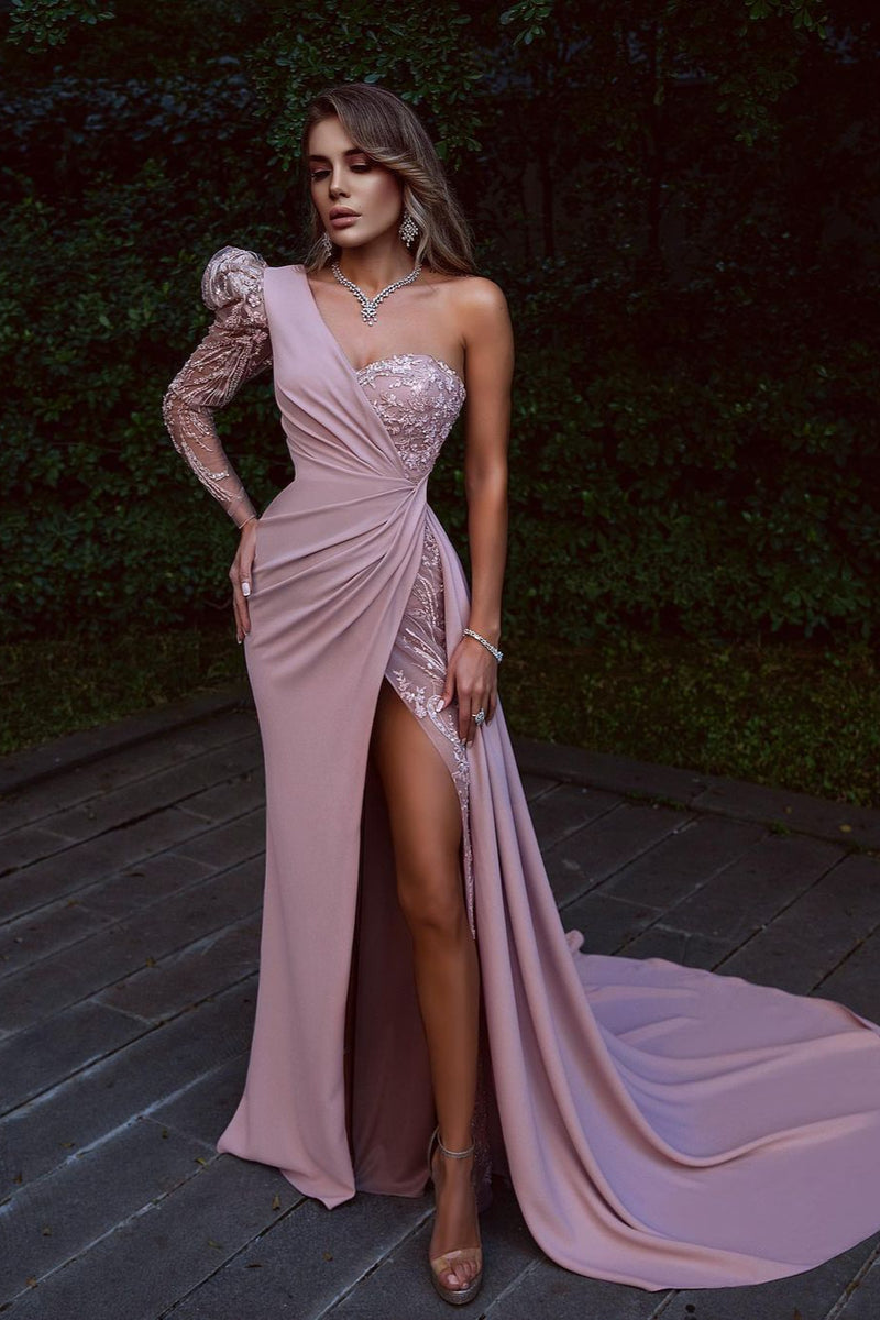 Elegant Pink Front Slit Chiffon Prom Dress Sequins One Shoulder With Long Sleeve On One Side