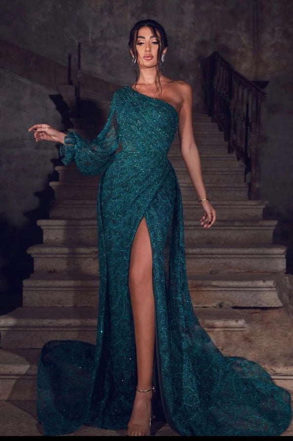 Glamorous Green Front Slit Lace Evening Dress Sequins One Shoulder With Long Sleeve On One Side