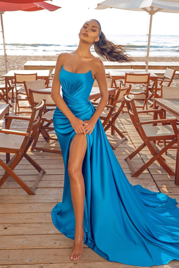 Sexy Blue Front Slit Chiffon Evening Dress Strapless Long