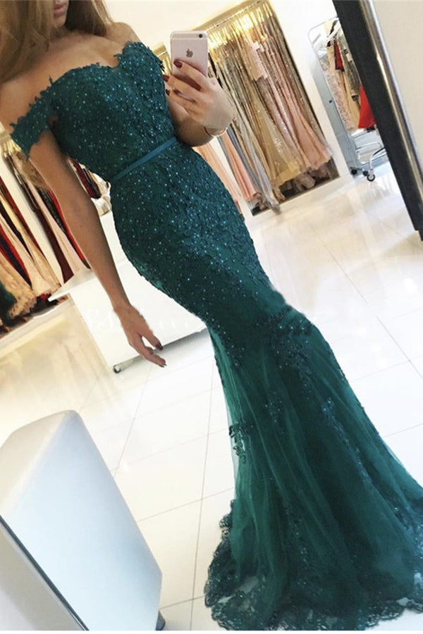 Elegant Tulle Off-the-shoulder Green Mermaid Evening Dress Sequins Lace Long