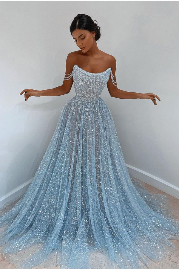 Elegant Light Blue Tulle Sequins Evening Dress Strapless Long