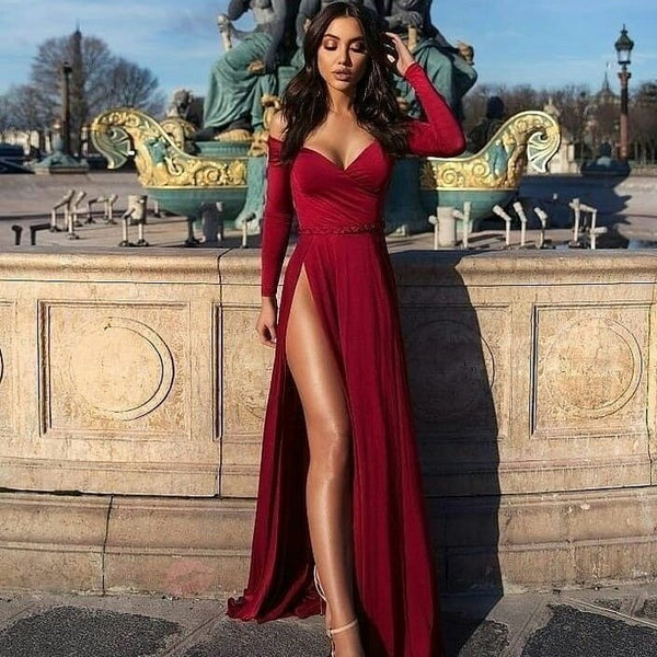 A-line Portrait V-neck Long Sleeve Front Slit Floor Length Chiffon Evening Dress