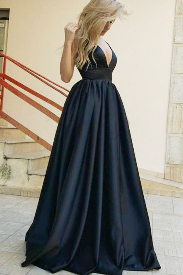 A-line Deep V-neck Wide Strap Backless Floor Length Matte Satin Evening Dress