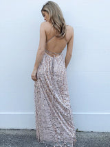 A-line Deep V-neck Spaghetti Strap Backless Front Slit Floor Length Chiffon Paillette Evening Dress