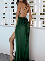 A-line Spaghetti Strap Deep V-neck Floor Length Front Slit Backless Chiffon Evening Dress