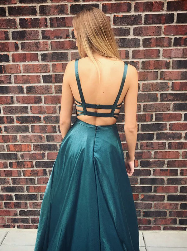A-line Spaghetti Strap Floor Length Backless Charmeuse Evening Dress
