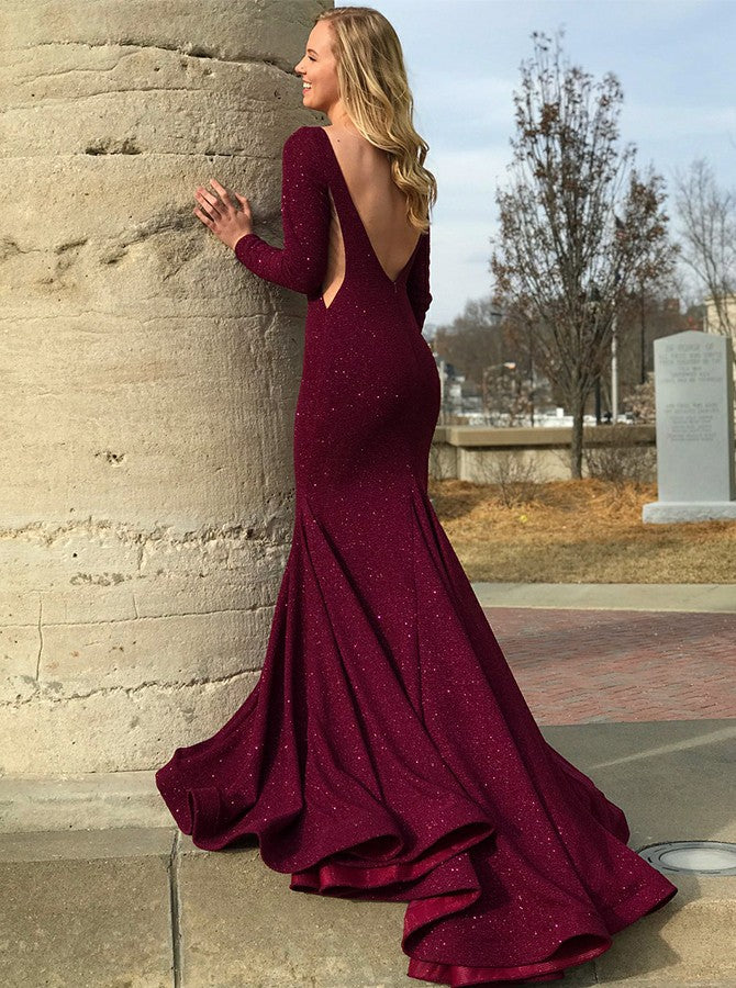 Mermaid Round Collar Long Sleeves Floor Length Court Backless Paillette Evening Dress