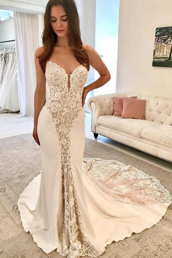 Sheath Spaghetti Strap Floor Length Chapel Chiffon Applique Wedding Dress
