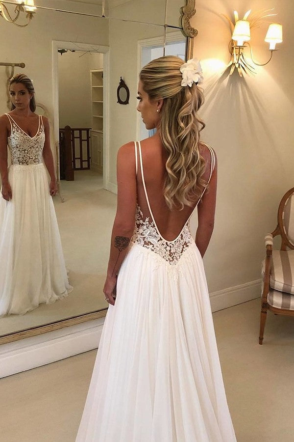 A-line V-neck Wide Strap Floor Length Backless Applique Wedding Dress