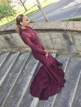 Mermaid High Collar Long Sleeves Floor Length Chiffon Beaded Applique Prom Dress