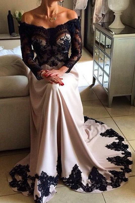 A-line Portrait Floor Length Charmeuse Applique Crochet Flower Evening Dress