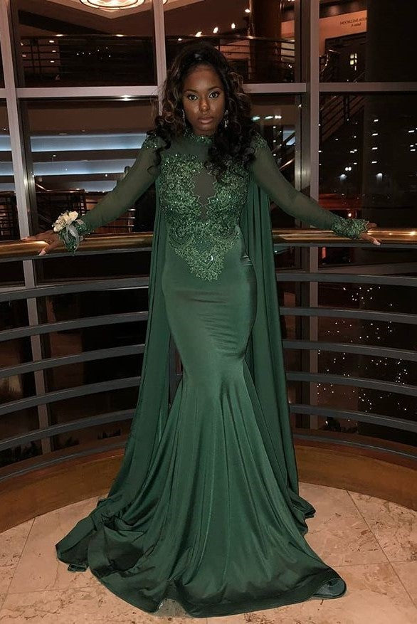 Mermaid Small Round Collar Long Sleeves Floor Length Beaded Applique Prom Dress With Cloak