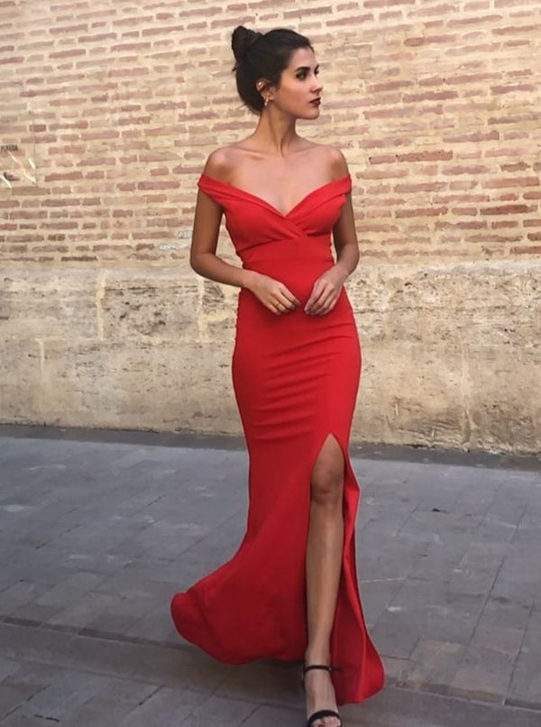 Sheath V-neck Off-the-shoulder Floor Length Front Slit Chiffon Evening Dress