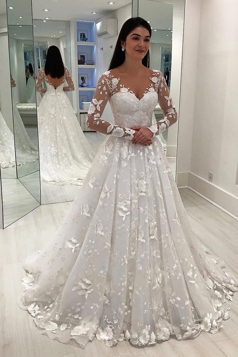 A-line V-neck Long Sleeve Floor Length Chapel Tulle Crochet Flower Wedding Dress