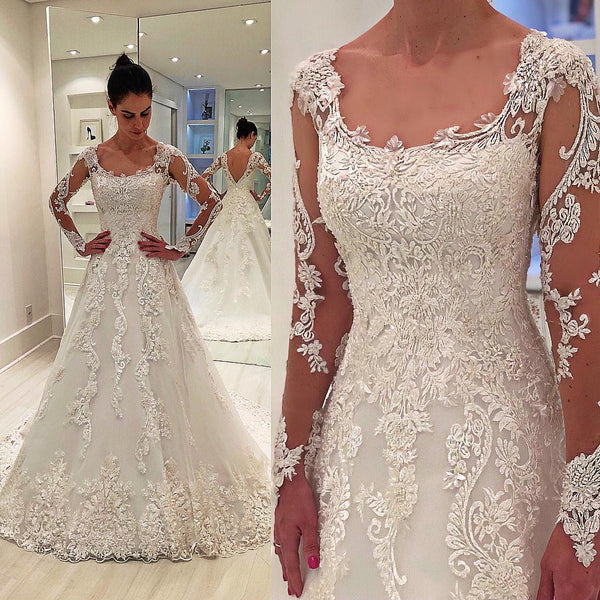 A-line Round Neck Long Sleeve Floor Length Tulle Applique Wedding Dress