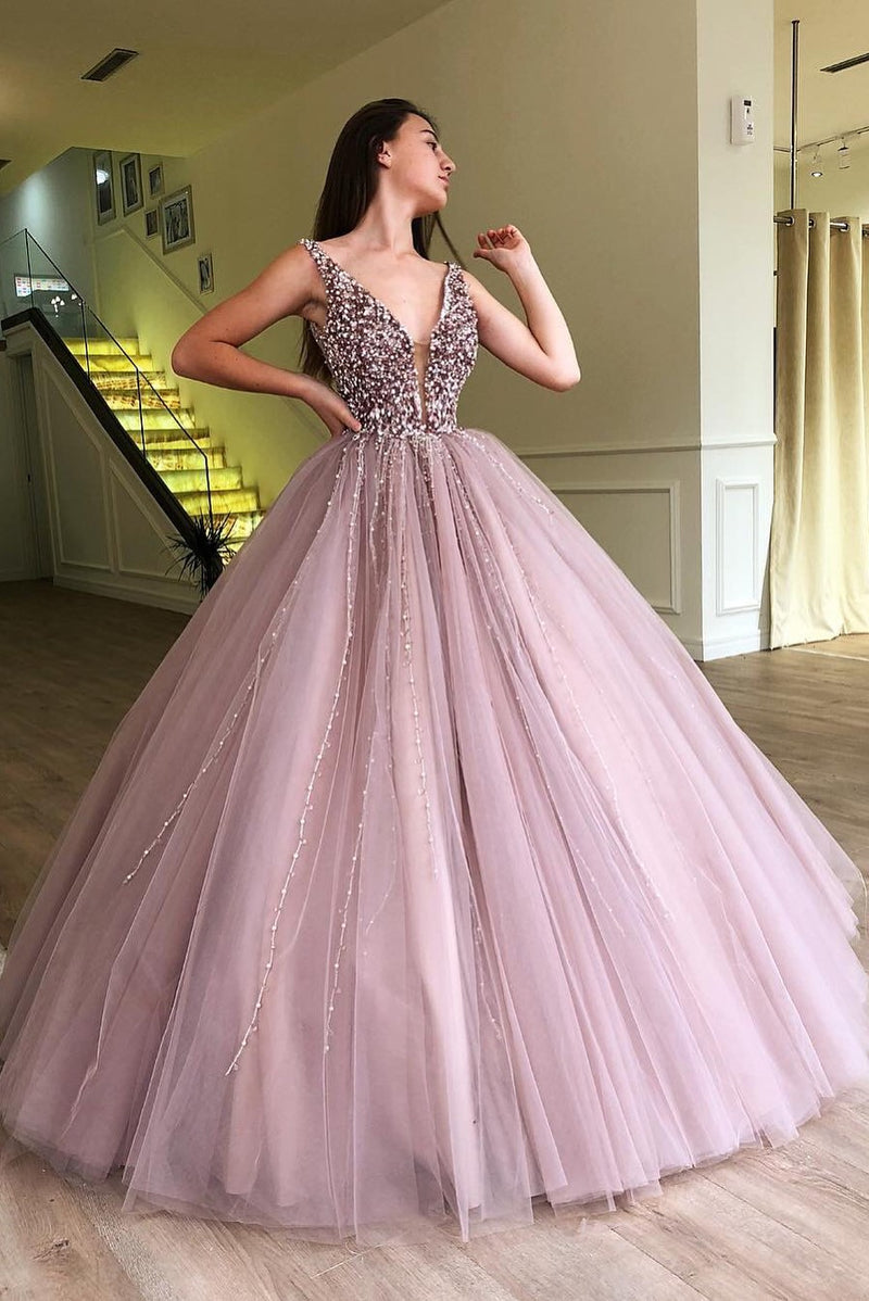 Ball Gown Deep V-neck Wide Strap Floor Length Tulle Beaded Prom Dress