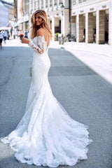 Mermaid Sweetheart Long Sleeve Floor Length Chapel Backless Applique Wedding Dress