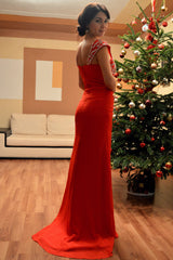 Sheath Wide Straps Floor Length Chiffon Front Slit Beading Prom Dress