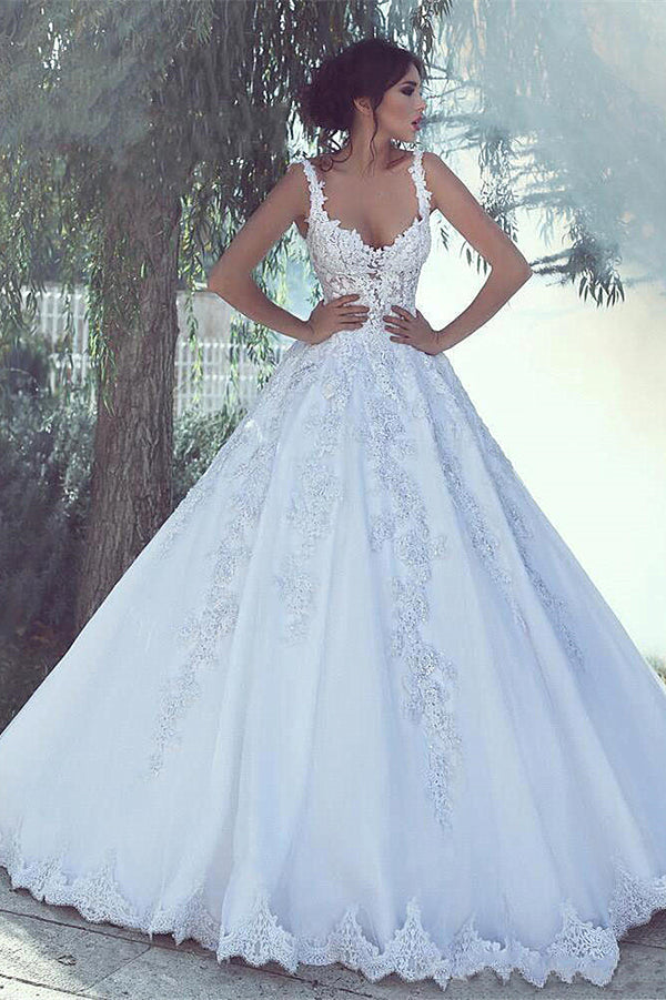 Ball Gown Wide Strap Floor Length Tulle Applique Beading Wedding Dress