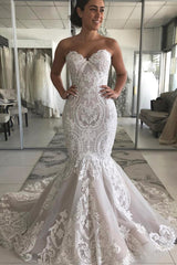 Mermaid Sweetheart Long Train Tulle Applique Wedding Dress