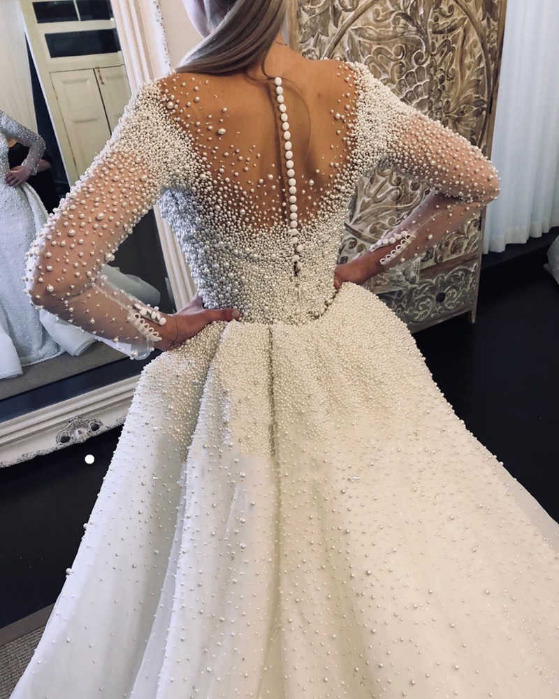 Mermaid V-neck Long Sleeves With Waist Skirt Floor Length Tulle Beaded Wedding Dress