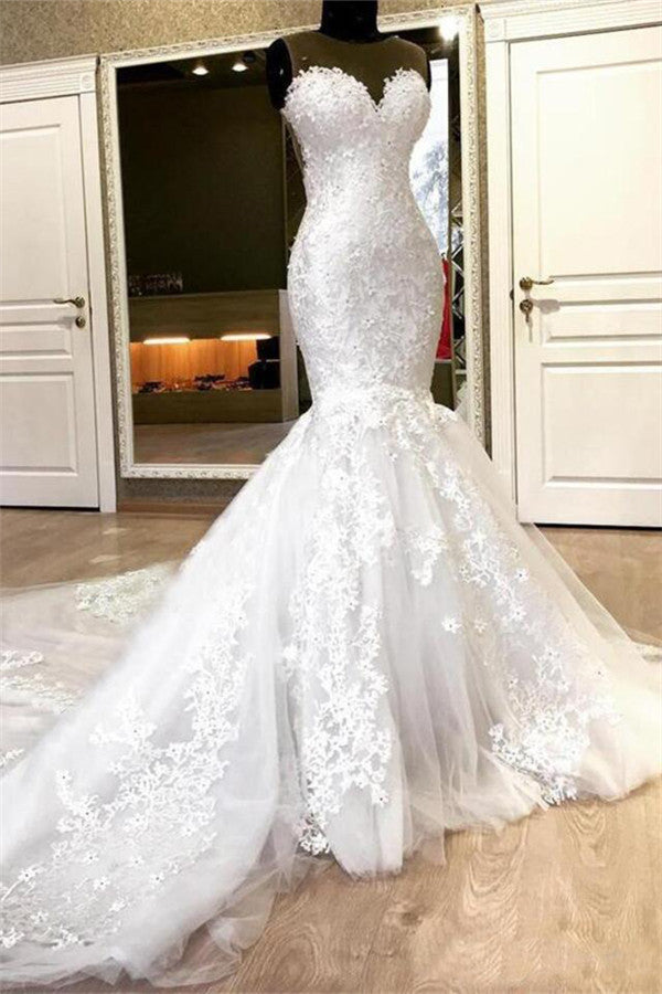 Mermaid Sweetheart Long Train Tulle Crochet Flower Wedding Dress