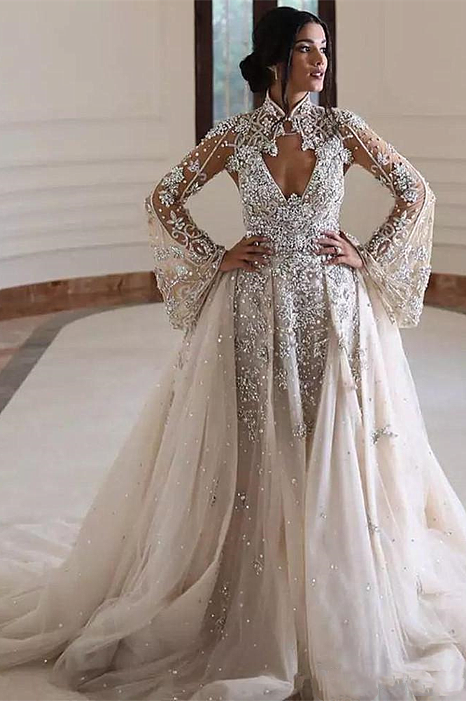 A-line High Collar Long Sleeves Long Train Backless Beaded Wedding Dress