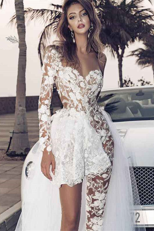Special Two-piece Tulle Hi-lo Wedding Dress Lace Short Sexy One Shoulder With Long Sleeve On One Side