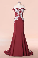 Off-the-shoulder Applique Burgundy Chiffon Mermaid Bridemaid Dress Long